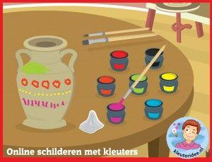 Online vazen schilderen voor kleuters op digibord of computer, kleuteridee, Kindergarten game for IBW or computer