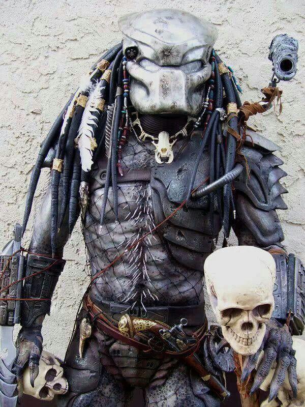 A Predator Costume With A Skull