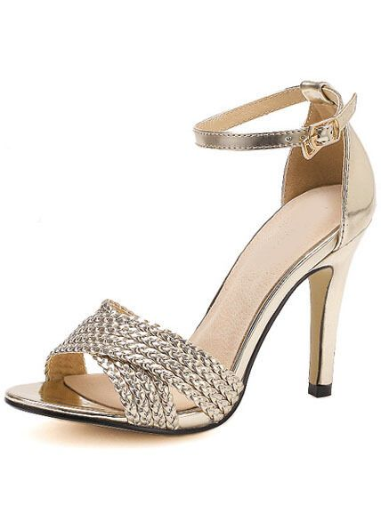 Golden Peep Toe Ankle Strap High Heeled Sandals Summer Pumps Stiletto Shoes #Unbranded #Stilettos
