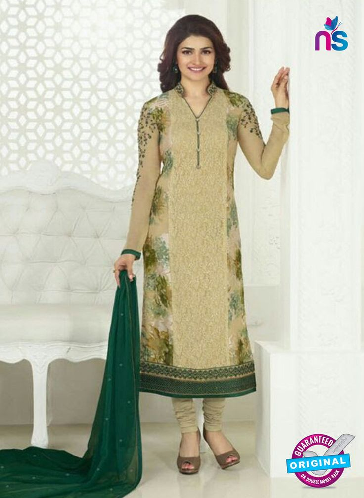 3755 Beige and Green Embroidered Georgette Party Wear Straight Suit