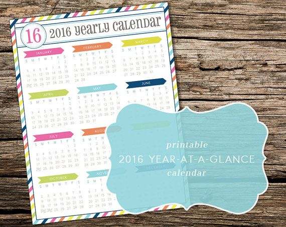 Printable 2016 Year-at-a-Glance Calendar by TrewStudio on Etsy