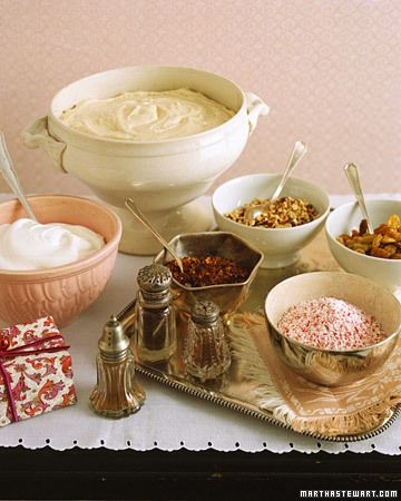 Eggnog Mousse. Dark rum, brandy, cinnamon, nutmeg, and cloves flavor this fluffy eggnog mousse. Seved with an array of toppings such as crushed candy canes, toasted chopped nuts, and cocoa powder, this makes a wonderful light dessert after an abundant holiday feast. (click/open for recipe)