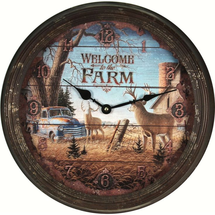 Rivers Edge Deer on Farm Vintage Wall Clock - REP1034