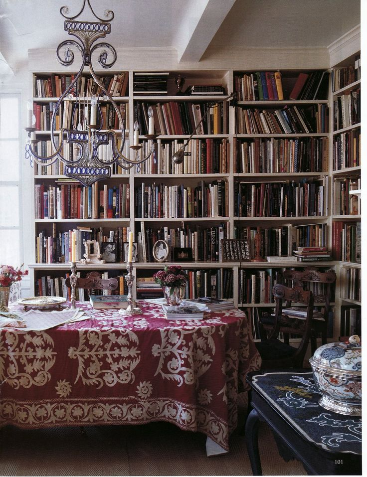 Boho library chic dining room of textile designer carolina for Dining room library
