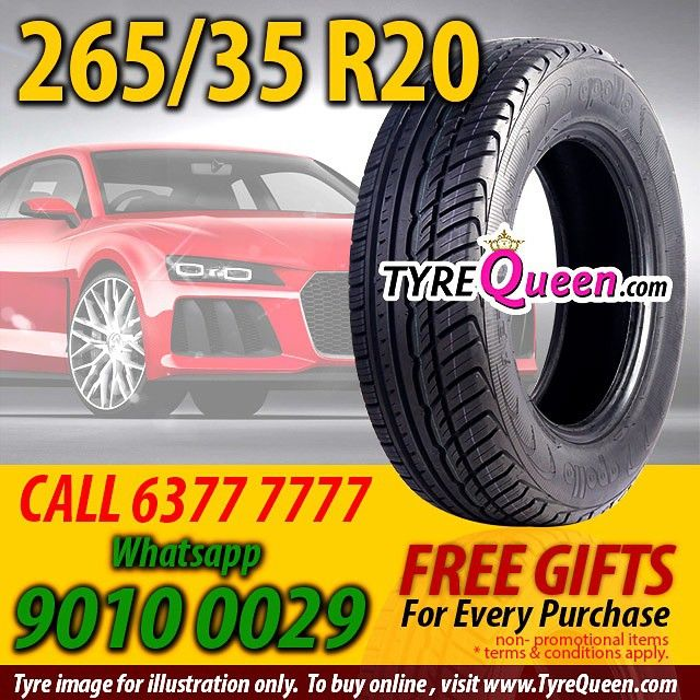 """@tyrequeen's photo: """"265/35R20 Tyres atTyreQueen.comCall 63777777Whatsapp90100029  www.TyreQueen.com Phone Booking at63777777 Whatsapp:90100029  TyreQueen Workshops at  JURONG EAST Big Box Warehouse Mall #05-08 Level 5 Carpark, 1 Venture Avenue Singapore 608521  KAKI BUKIT 13 Kaki Bukit Road 4, #01-05 Singapore 417807  Other tyre sizes? Not sure what to buy for your car model?  Call TyreQueen at63777777or Whatsapp us at 90100029  Or go toWww.TyreQueen.comto see the whole range of…"""