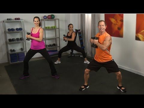 Teddy Bass will work your legs, butt, arms, and abs. It's a full-body blast that's as effective as it is fun. Grab a set of dumbbells