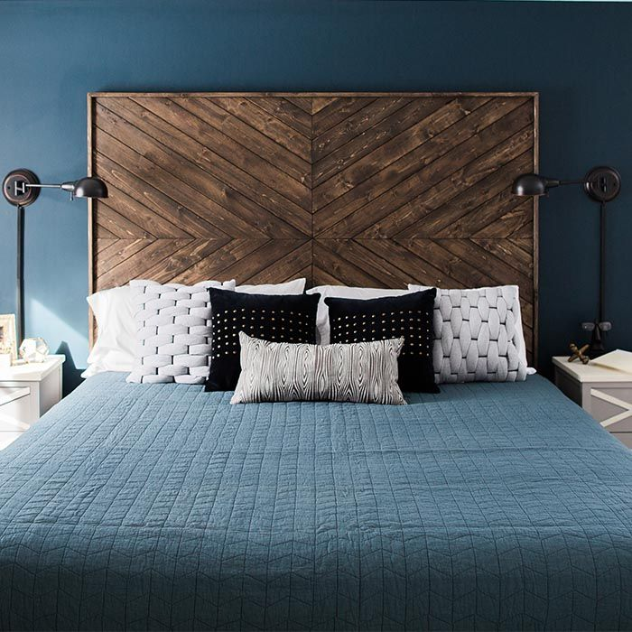 Spruce up your sleep space with this custom headboard. Simple elements and  a dramatic chevron