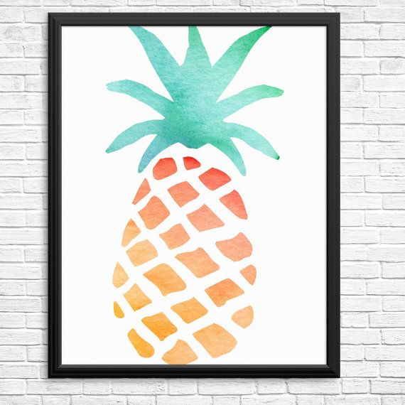 Bright Watercolour Pineapple Digital Print