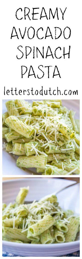 Creamy avocado spinach pasta