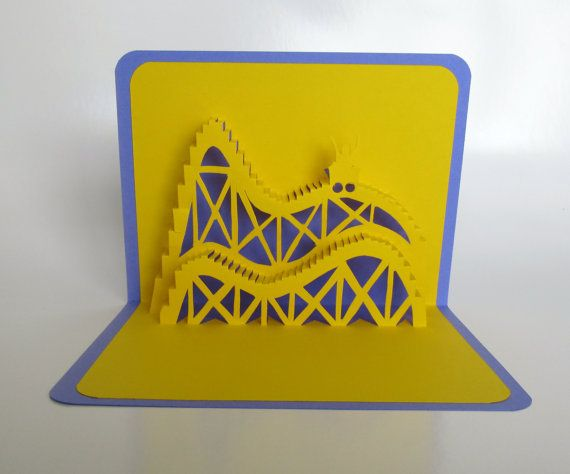 ROLLER COASTER 3D Pop Up Card Greeting Card Birthday by BoldFolds, $20.00