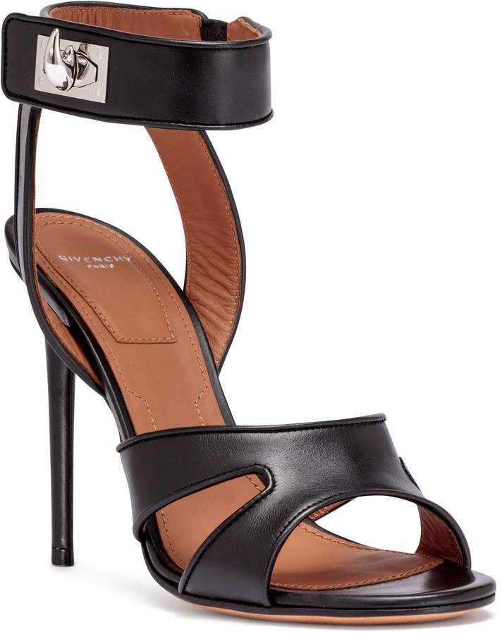 e8f890ace4c Givenchy Black leather shark-lock sandals