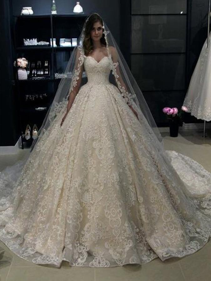 Vintage Sweetheart Ball Gown Lace Wedding Dress 2019 Wedding