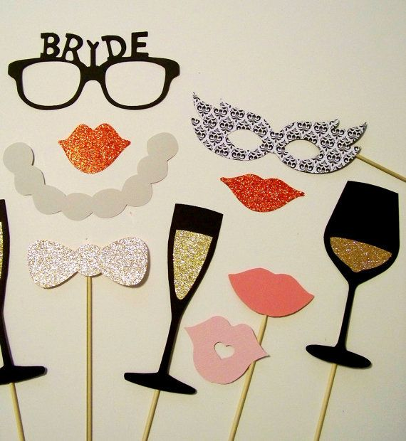 Bridal Shower Photo Booth Props 16 pc Wedding Photobooth Props Bachelorette Photo Booth Props Bride Glasses Glitter Photo Proos