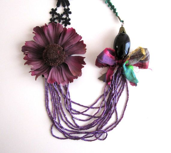 Winter Necklace Statement Necklace Purple by catyflowerpower