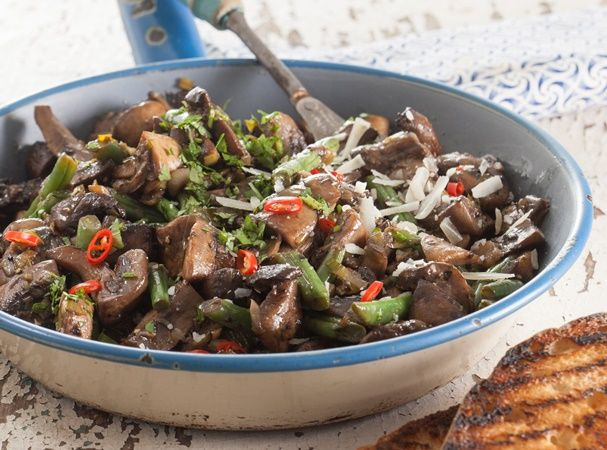 Mushroom and bean bruschetta • Take advantage of the many types of mushrooms in store with this wonderfully earthy supper dish.