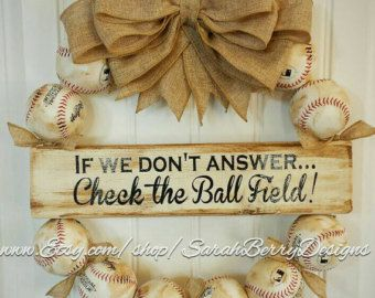 Baseball Wreath with Navy and White striped by SarahBerryDesigns