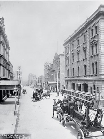 THEN -Horse-drawn fire appliances outside the city fire station in Castlereagh Street, Sydney