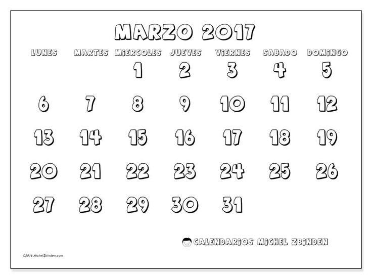 Gratis! Calendarios para marzo 2017 para imprimir