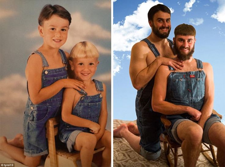 Double denim: These brothers decided to get out their dungarees and recreate their old pose