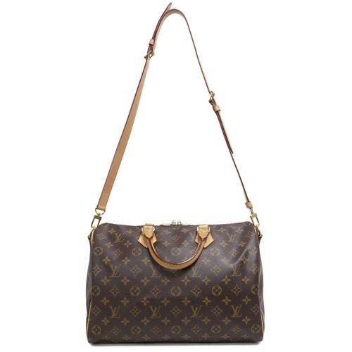 """Authentic Louis Vuitton Monogram Speedy Bandoulière 35  CONDITION: Very good.  Light markings throughout leather trim.  Material: Canvas Color: Brown Date Code: DU2153 Exterior Features: Rolled leather top handles, removable shoulder strap, zipped top opening, gold tone hardware Interior Features: Brown fabric lining, slip pocket, D ring Measurements: 13.5"""" x 9.5"""" x 7.5"""" Included: Lock & keys  SKU: HA02100"""