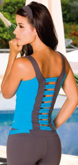 Protokolo Race Top - Fun blue top that has v-neckline, charcoal contrasts, and open slat back design. Shelf-bra, Supplex/Lycra.  #1479  Colors: Blue/Charcoal  Price: $42.95