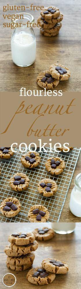 Vegan, flourless, sugar-free Peanut Butter Cookies w/ Chocolate. Recipe on An Unrefined Vegan.