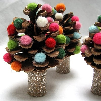 DIY tutorial & kit - felted wool pinecone Christmas trees