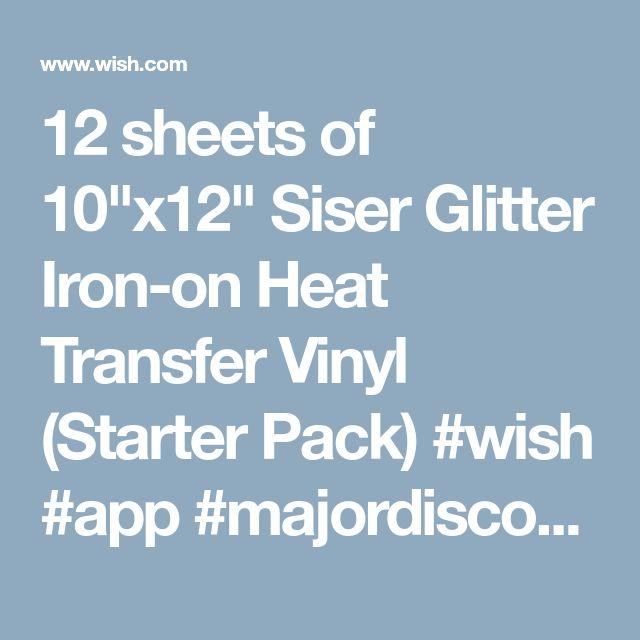 """12 sheets of 10""""x12"""" Siser Glitter Iron-on Heat Transfer Vinyl (Starter Pack) #wish #app #majordiscount"""