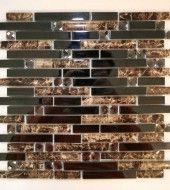 random brown rust black tile backsplash | ... Pattern) + Black Glass (