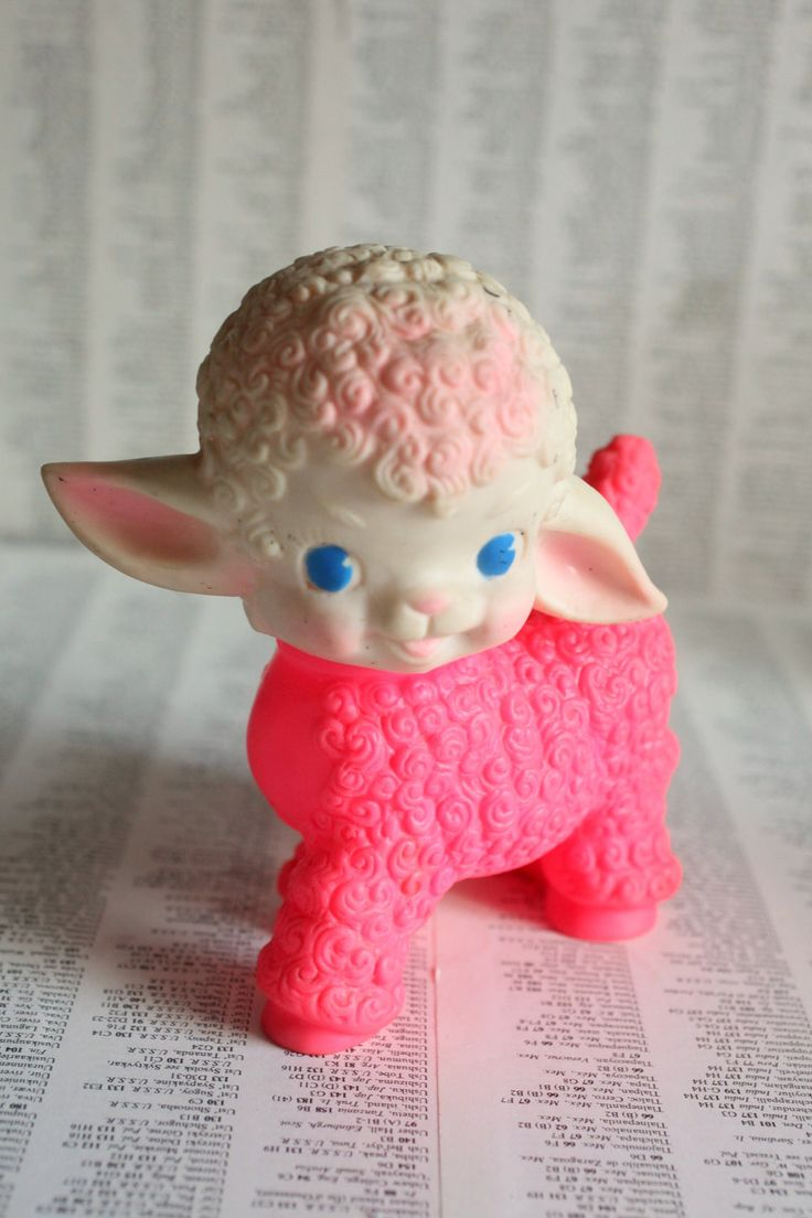 Pink Lamby Love - Vintage Squeaky Toy 1950's Little Lamb by Sun Rubber Co.