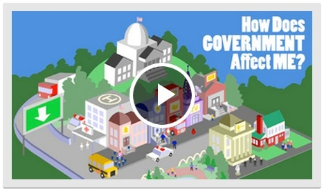 A virtual tour of a town's buildings, roads, and parks teaches kids how federal, state, and local government decisions directly impact their community.  Source: The Democracy Project