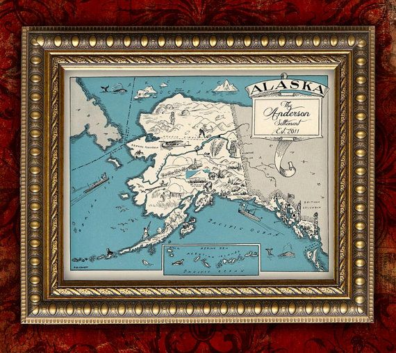 Custom map art print alaska vintage retro personalized map for Classic housewarming gifts