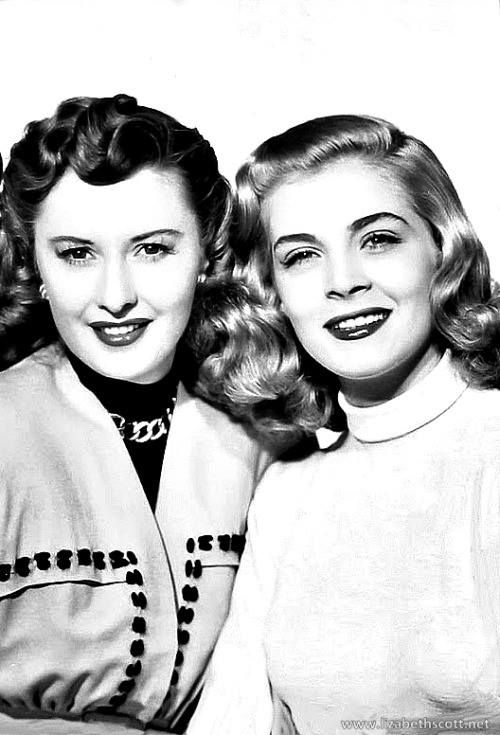 "Lizabeth Scott poses in a publicity picture alongside Barbara Stanwyck - the two starred in ""The Secret Love of Martha Ivers""."