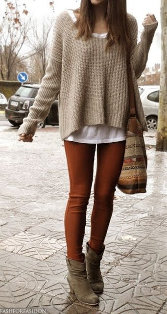 So happy my current wardrobe matches this fall's trend! Love comfy sweaters, skinny jeans, tights boots, scarves... everything!