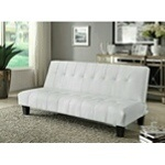 """White Finish Button Tufted Upholstery Adjustable Futon Sofa. Futon measures: 70"""" x 34"""" x 33""""H (Sofa) or 70"""" x 44"""" x 16""""H (Bed). Some Assembly May Be Required. Optional Futon colors: Espresso, White, or Red. - A.M.B. Furni"""