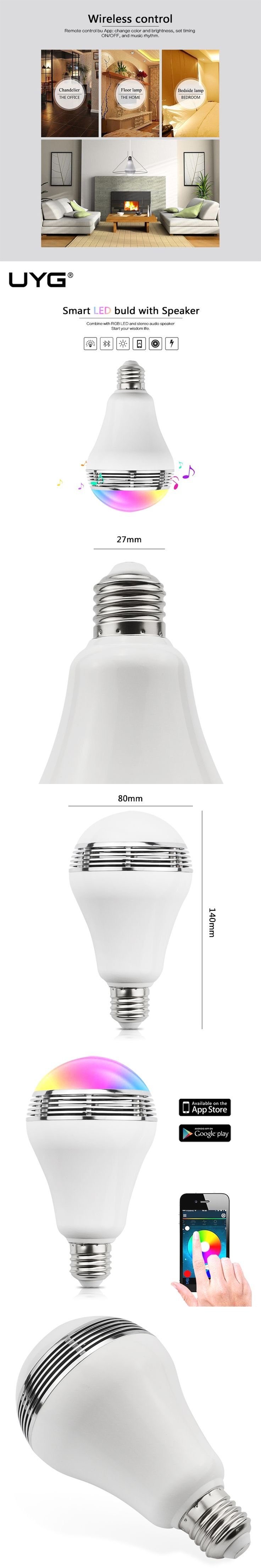 Smart LED light Bulb music Mini Wireless Bluetooth Speaker Colorful Dimmable E27 3W Lamp APP Remote Control for Android iphone