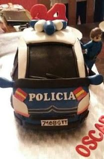 Tartas de fondant Madrid: TARTA FONDANT COCHE POLICIA