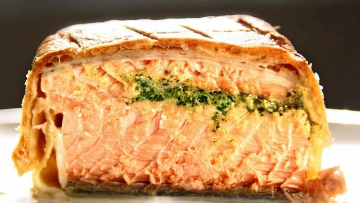 Breaded and baked salmon with cauliflower and parmesan.