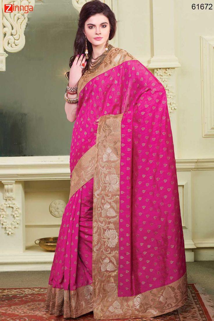 Deep Pink Bhagalpuri Silk Saree. For Details Click www.zinnga.com