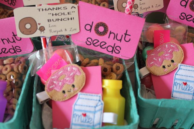 Adorable favors at a Donut girl birthday party!  See more party ideas at CatchMyParty.com!