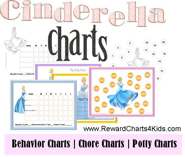 Cinderella charts - reward charts, behavior charts, chore charts and potty charts
