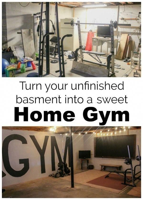 3e5b2b022fa How we created an industrial style home gym in our unfinished basement on a  tiny budget
