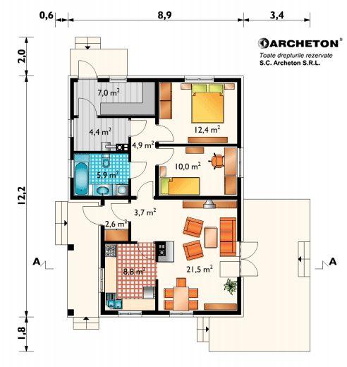 Proiecte de case mici cu 2 dormitoare 2 bedroom house plans 5