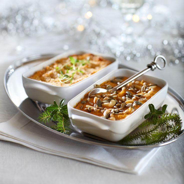 Saat helposti vaihtelua joulupöydän laatikkoruokiin valmistamalla herkullisen bataattilaatikon valmiista bataattisoseesta.