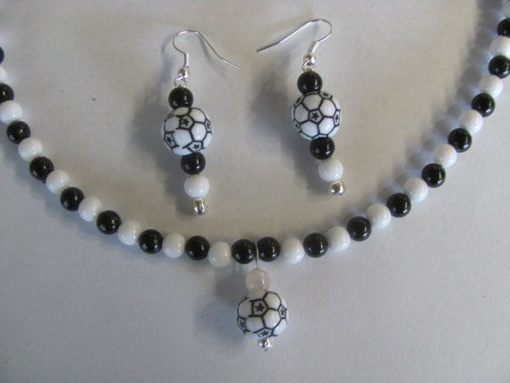 Soccer Mom Bead necklace and matching earrings by StudentShop13