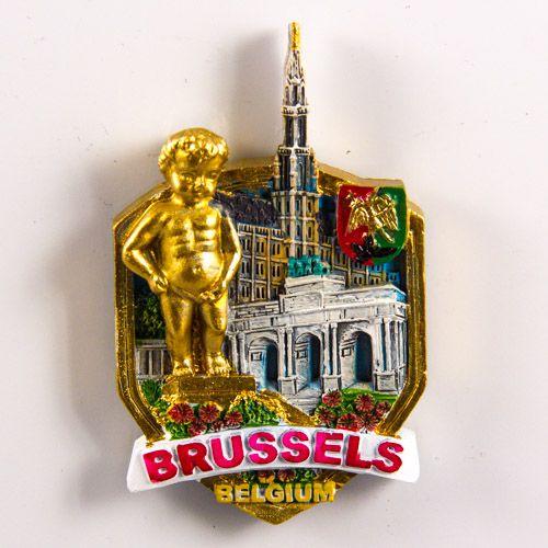 Resin Fridge Magnet: Belgium. Brussels Attractions (Golden Color)