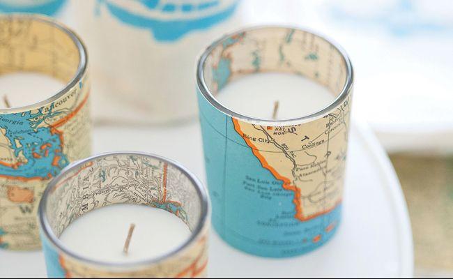 DIY Vintage Map Votive Candles