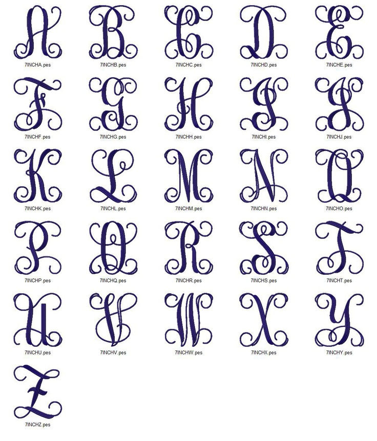Large Vine Intertwined Monogram Machine Embroidery Font Alphabet - 3 Sizes. $2.95, via Etsy.