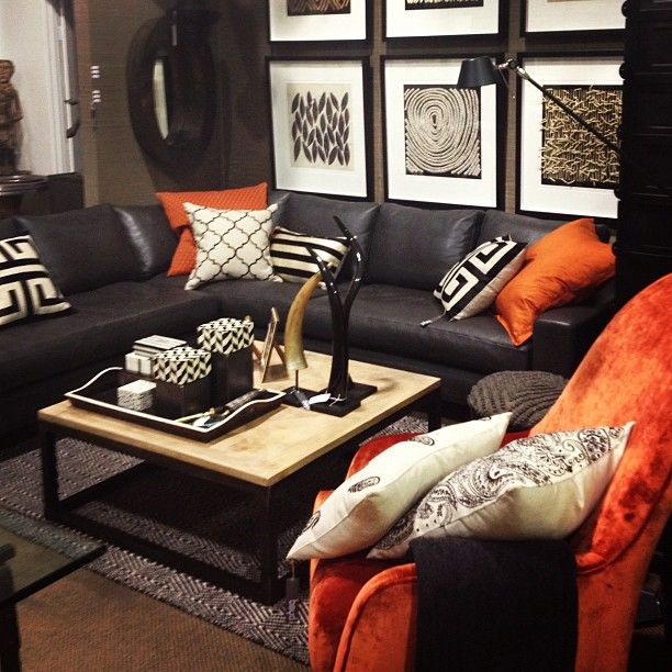 Masculine room setting with bold orange colour blocking at Boyd Blue Gold Coast Showroom