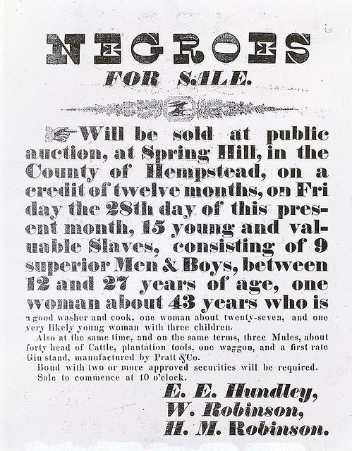 For sale: Mules, cattle, tools, wagon, gin stand, and 15 human beings.